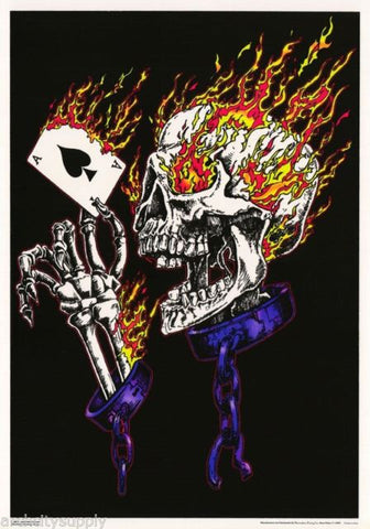 Flaming Skull (Blacklight) - Poster