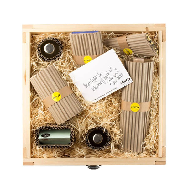 Hand wrapped gift sets, wooden crate, gift sets