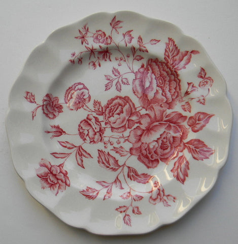 Red Pink Transferware Plate Floral Toile Cabbage Roses Vintage English China