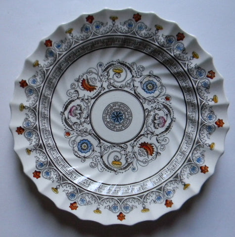 Spode Brown Transferware Plate Geometric Swirls Plumes & Scrolls with Handpainted Shades or Orange & Robins Egg Blue