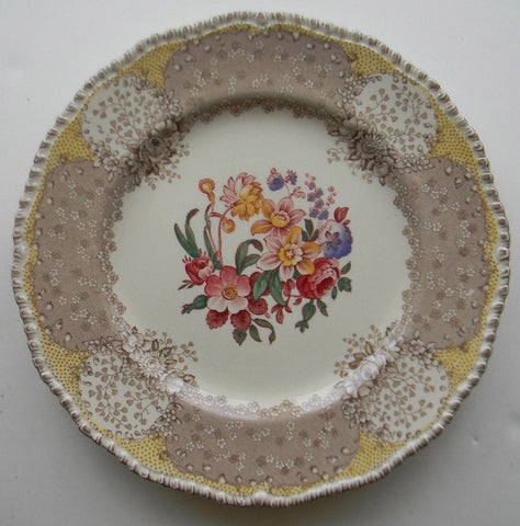 "8"" Vintage Brown & Red Bi Color Transferware English Polychrome Plate Royal Doulton Tulips Roses Flowers"