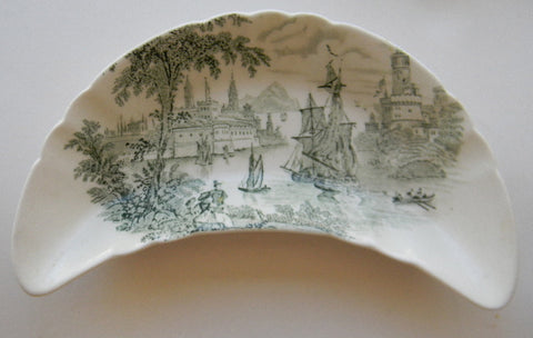 Green Transferware Crescent Bone Dish Seaport Ship Scene Safe Harbor Staffordshire
