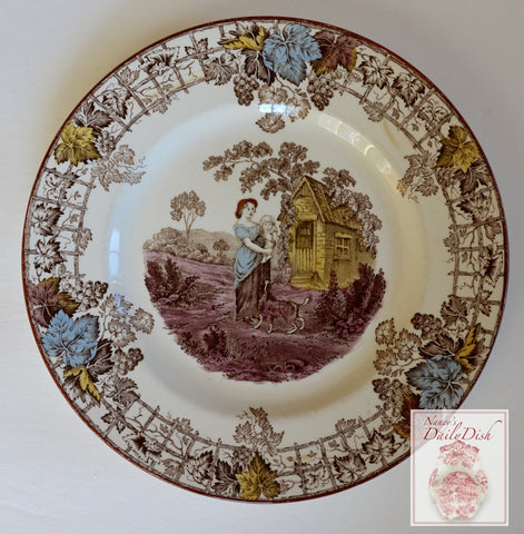 Spode Byron Brown Polychrome Transferware Salad Plate Mother Holding Baby