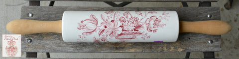 Red Transferware Rolling Pin  White  English Ironstone Charlotte  Wood Handles