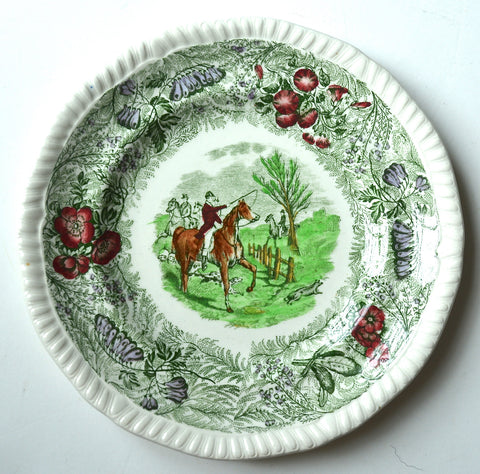 Green Polychrome Transferware Plate English Fox Hunt Scene by Spode Copeland Field Sports