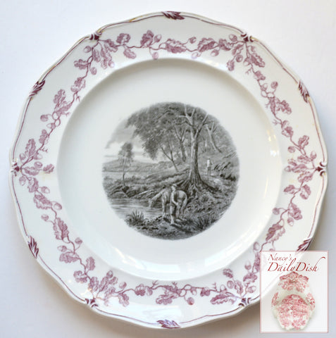 Vintage Wedgwood Plate French Hunter w/ Horses & Winding River Black Plum Two Color Transferware #4