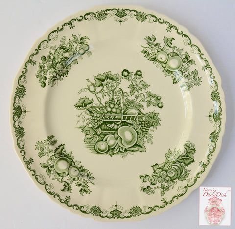 Mason's Vintage English Green Transferware Dinner Plate Basket of Fruits & Foliage Farmhouse Kitchen Decor