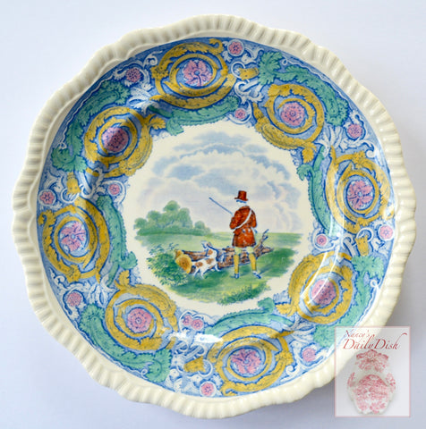RARE Blue Polychrome Transferware Plate Charger English Hunt Scene by Spode Copeland Herring