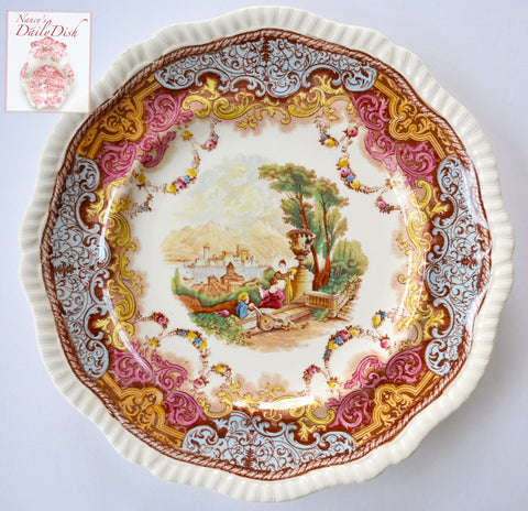 Spode Copeland Music Lesson in the Garden Transferware Continental Views Plate Hand Painted Blue Pink Yellow