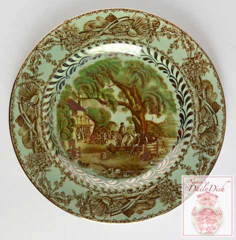 VERY RARE A J Wilkinson Rural Scenes Brown Transferware Salad Plate w/ Silver Overlay Hunt Scene Cottage Horse Farm Cows