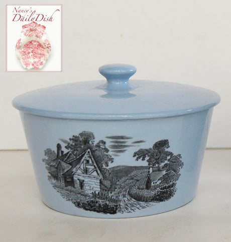 Spode Copeland Black Transferware Butter Crock Tub Cottage Rural Scenes on Baby Blue Earthenware