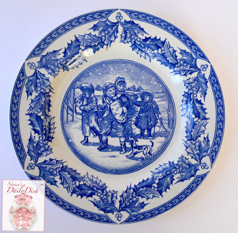 Spode Gathering Kindling Blue English Transferware Plate Victorian Children & Dog