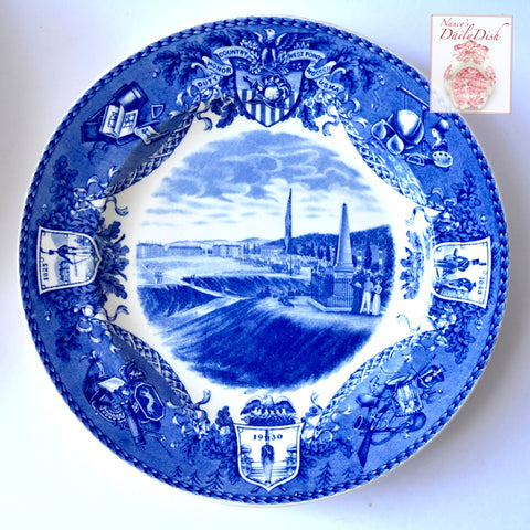 "Wedgwood Historical ""On Post In Camp""  West Point Military Academy Blue Transferware Plate"