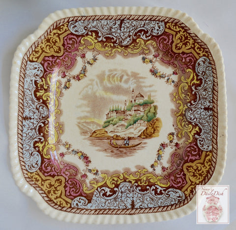 Spode Copeland Brown Transferware Continental Views Square Plate Hand Painted Blue Pink Yellow