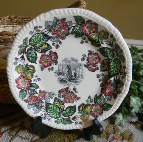 Spode Copeland Vintage English Transferware Black Plate Sailing Ship Old Salem Flowers Strawberries