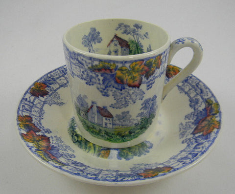 Vintage Demitasse Cup & Saucer - Blue Polychrome Transferware - RARE - Hand Painted - Spode Copeland Byron - Cottage Farm Lake Scenes