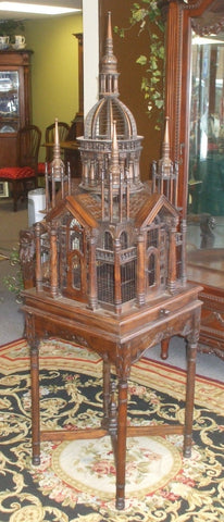 6' Tall Exquisite Hand Made French Victorian Bird Cage Mahogany