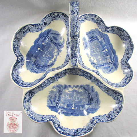 Mason's Vista Blue Transferware 3 Section Hors D'oevres Handled Trefoil Relish Dish Tray Oak Leaves