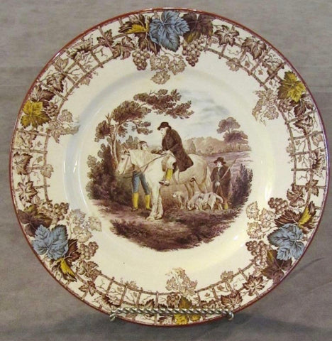 Spode Brown Transferware Plate Equestrian Decor Man on Horse Dogs Hunter Byron Hunt Scene