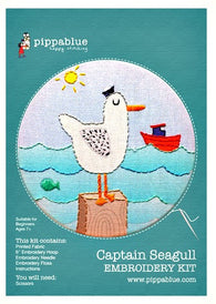 Our Captain Seagull embroidery kit includes our exclusive Pippablue printed fabric, embroidery threads, needle, wooden embroidery hoop and instructions. When you have finished your picture you can use your hoop as a frame!