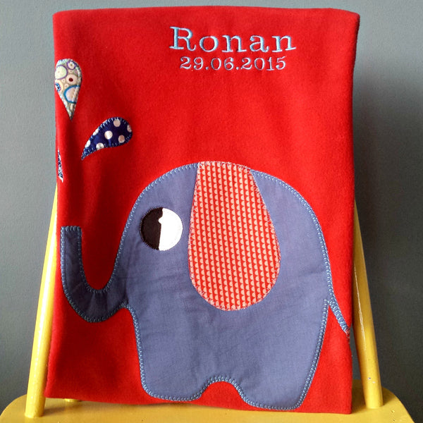 Personalized Fleece red baby blanket with applique elephant design.
