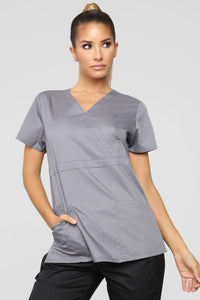 Need It Stat Scrub Top - Pewter