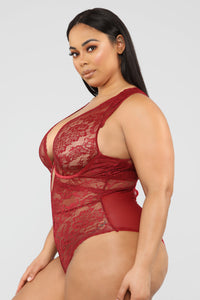 She Found Out Lace Teddy - Burgundy