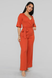 Your Go To Ribbed Jumpsuit - Rust