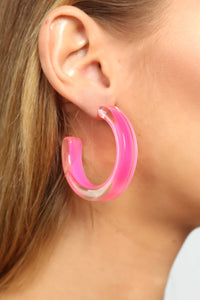 Shine From Within Hoop Earrings - Hot Pink