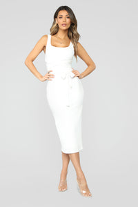 Got It Made Belted Midi Dress - Ivory