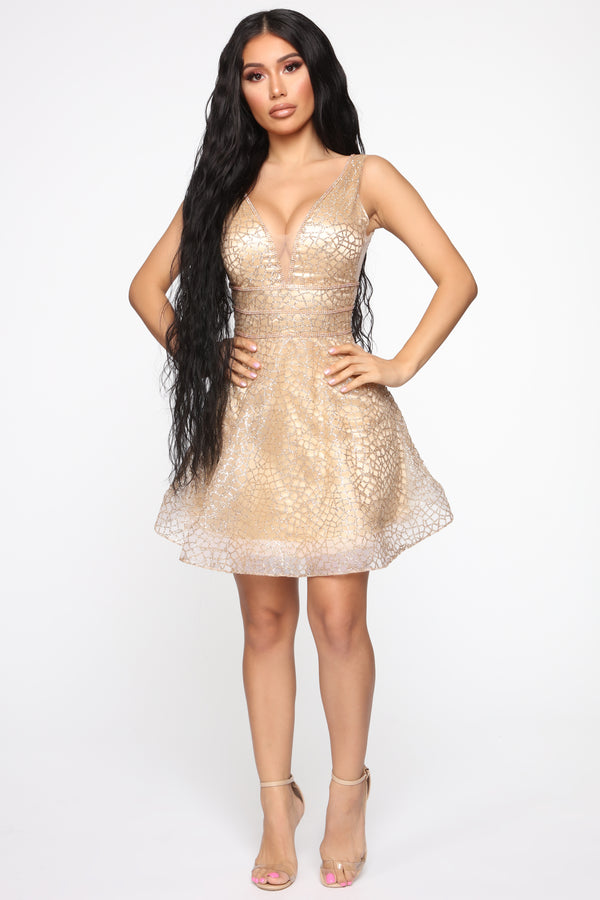 eec39a770e41 Ready To Show Off Embellished Fit And Flare Dress - Gold