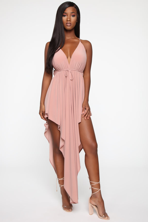 f3060fe3be1f Go To Great Lengths Asymmetric Dress - Mauve