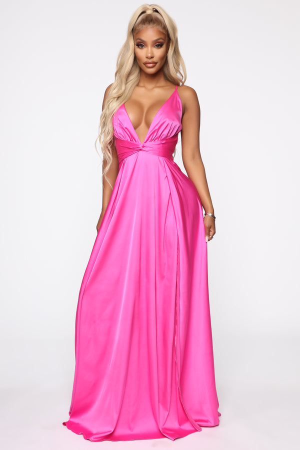 f88bc288a55f8 Want You To Stay Satin Maxi Dress - Magenta