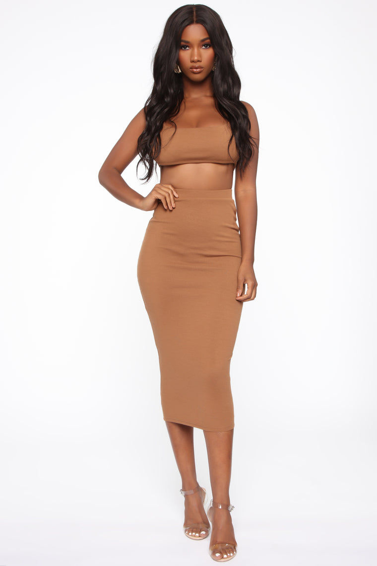 Ruthie Ribbed Set Mocha from Fashion Nova on 21 Buttons