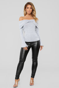 Too Twisted Long Sleeve Top - Heather Grey