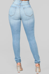 Classic High Waist Skinny Jeans - Light Blue Wash