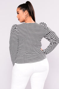 Yasmina Stripe Top - Black/White