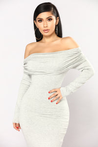 Not The Same Midi Dress - Heather Grey