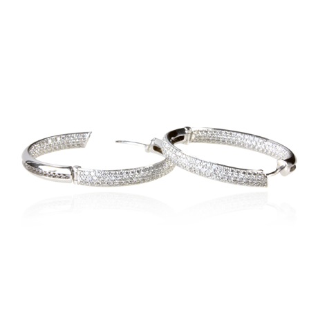 18ct white Gold Diamond Hoops