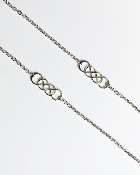 Infinity necklace long sterling silver