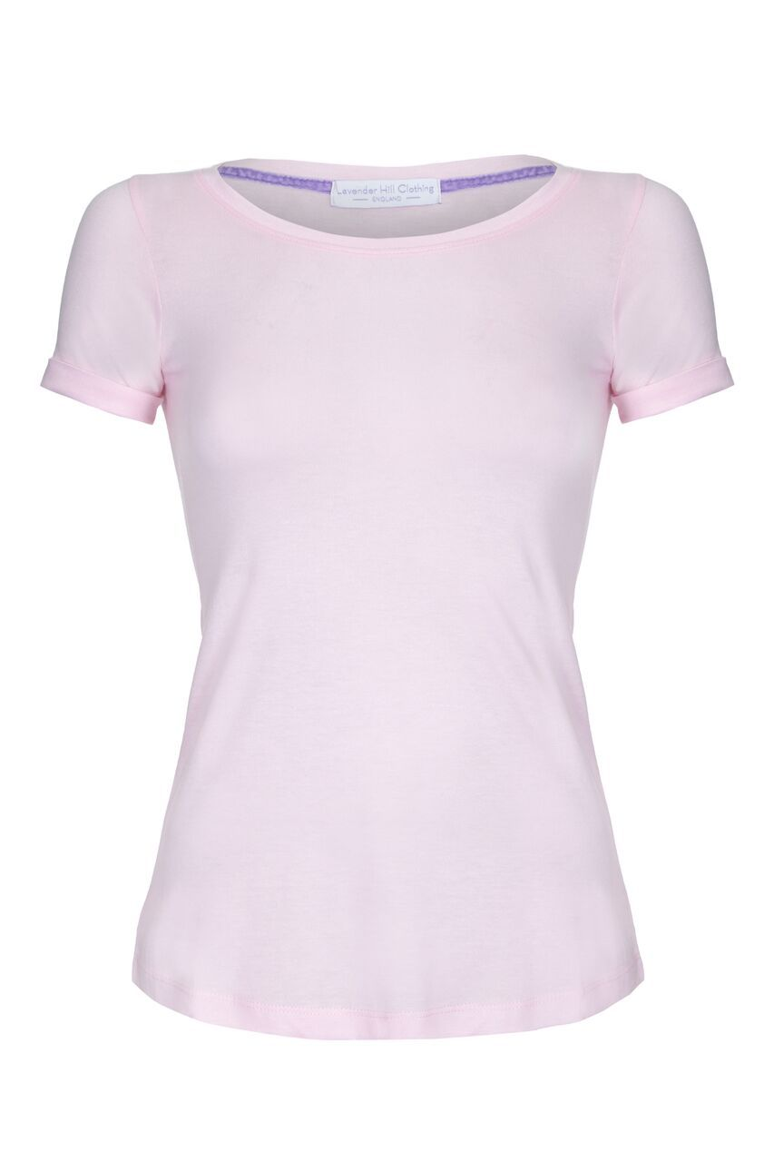 turned up sleeve t-shirt. rolled sleeve scoop neck ladies t-shirt