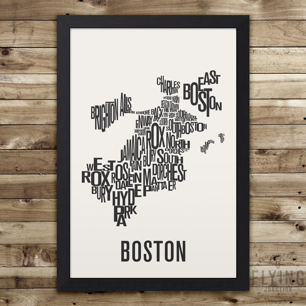 Boston Neighborhood Typography Map - White