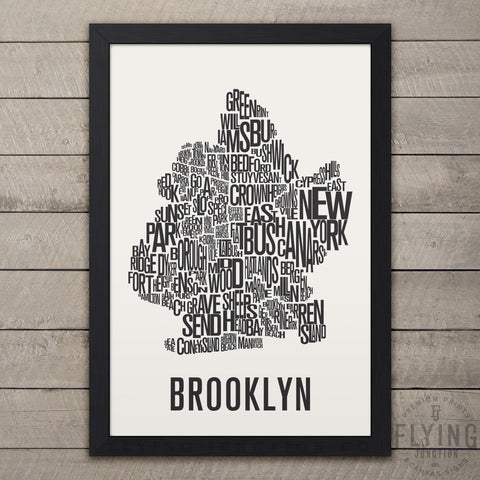 Brooklyn Neighborhood Typography Map - White