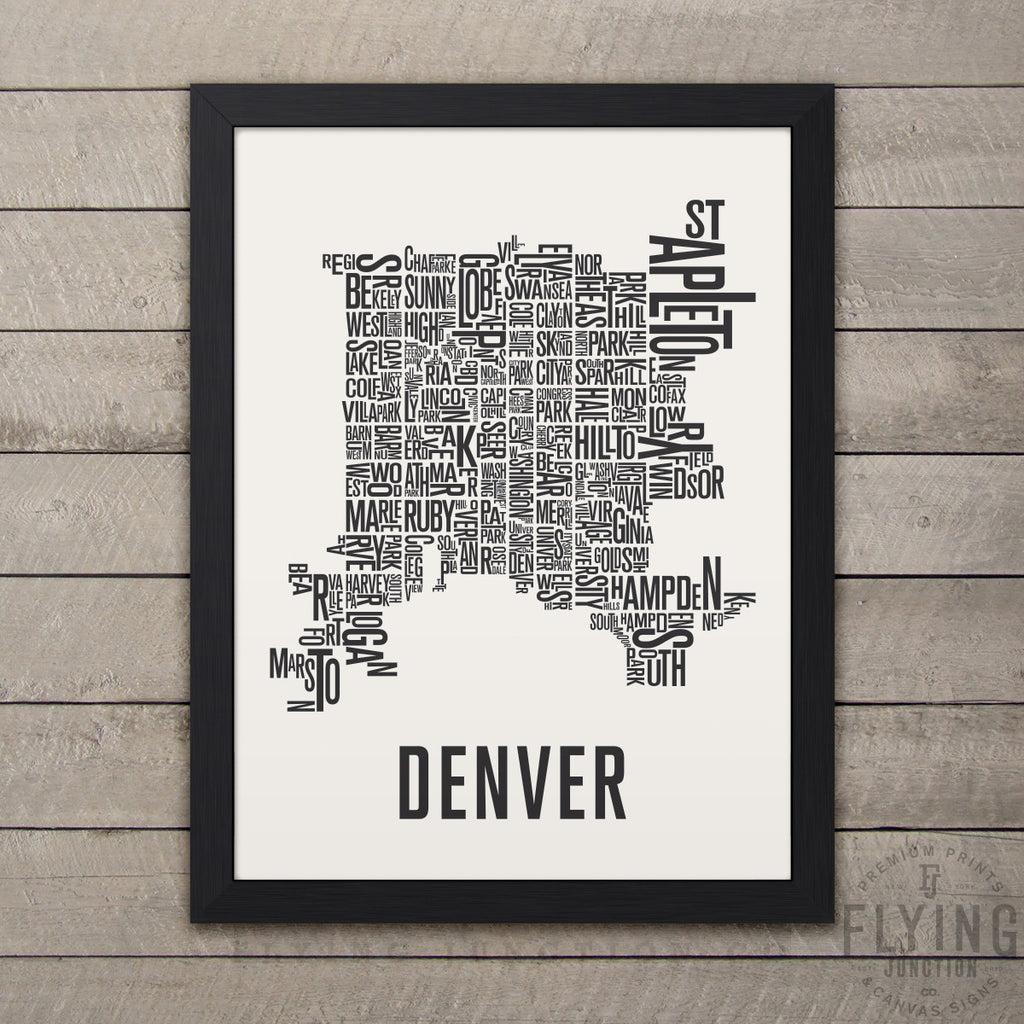 Denver Neighborhood Typography Map - White