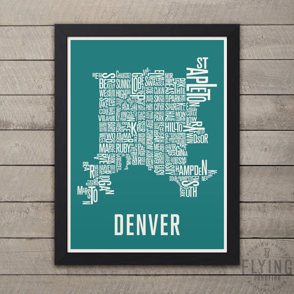 Denver Neighborhood Typography Map - Teal