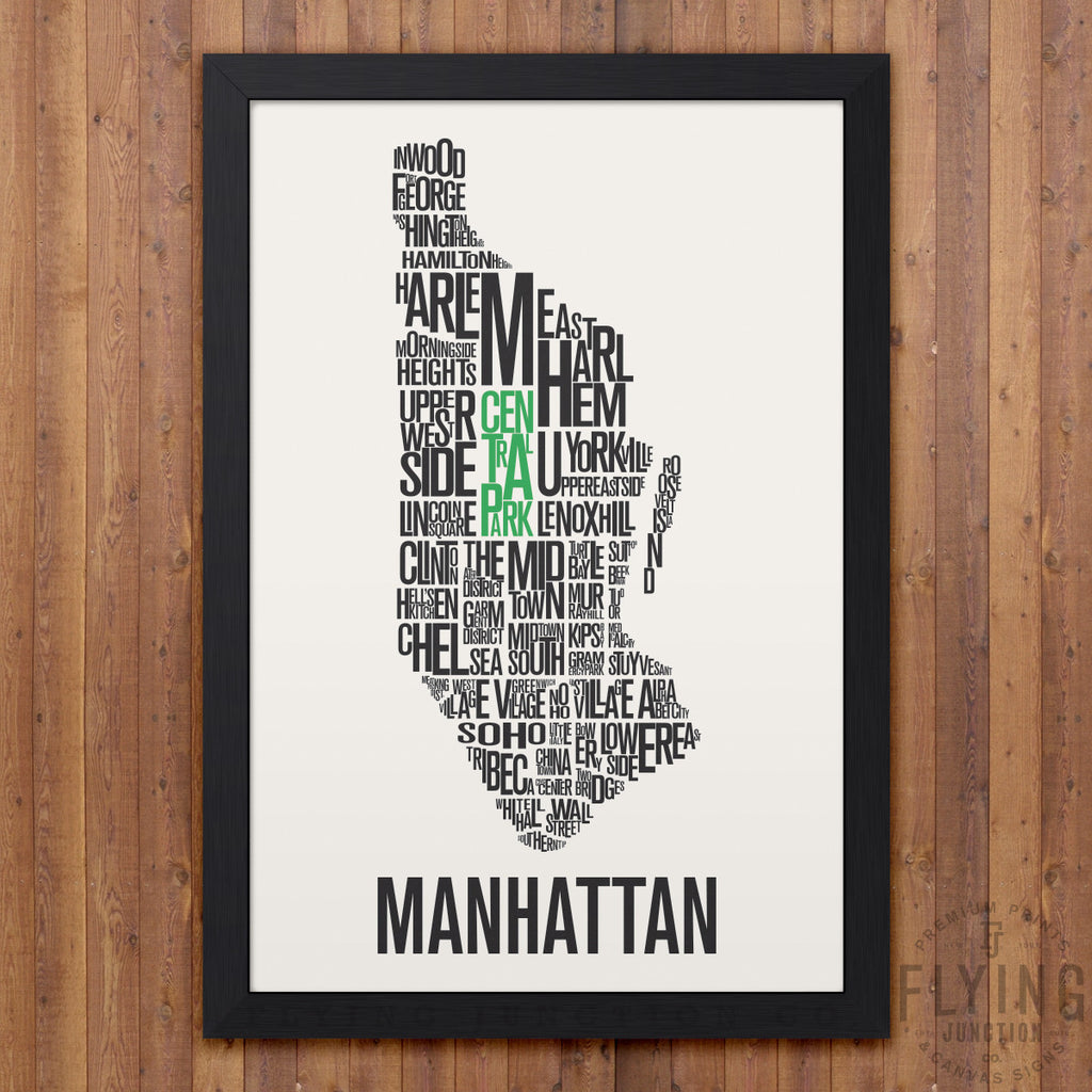 Manhattan Neighborhood Typography Map - White