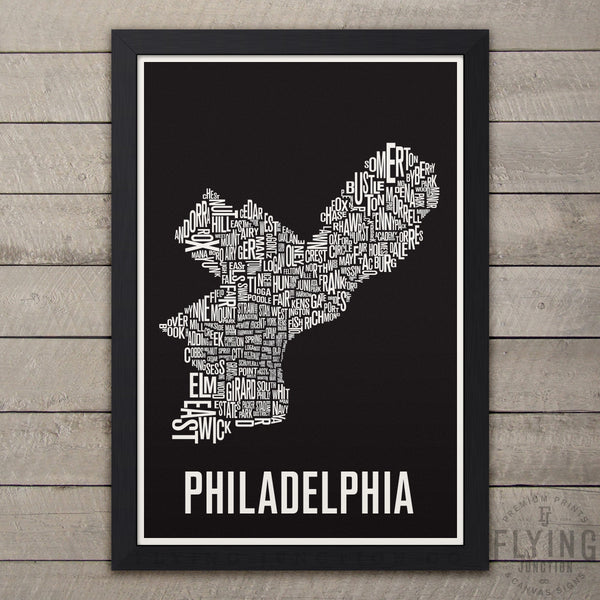 Philadelphia Neighborhood Typography Map - Black