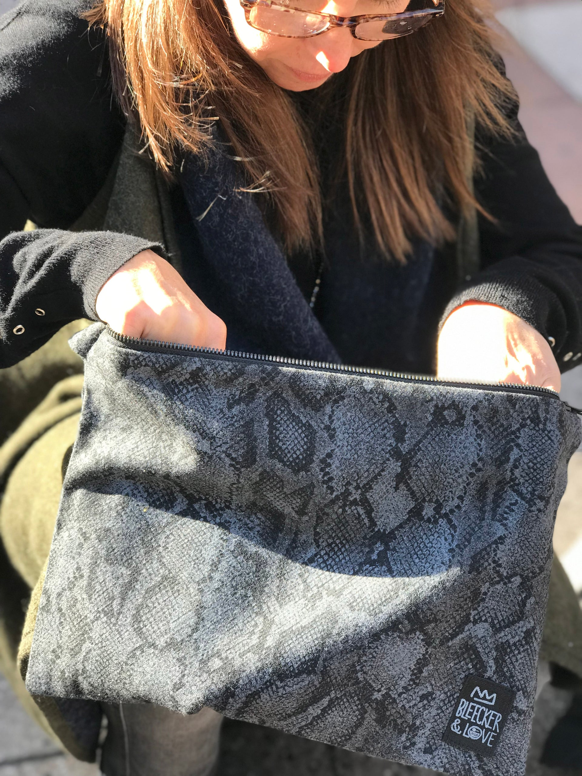 Grey Snakeskin Flat Pouch- 2 Sizes Available - milogiftshop