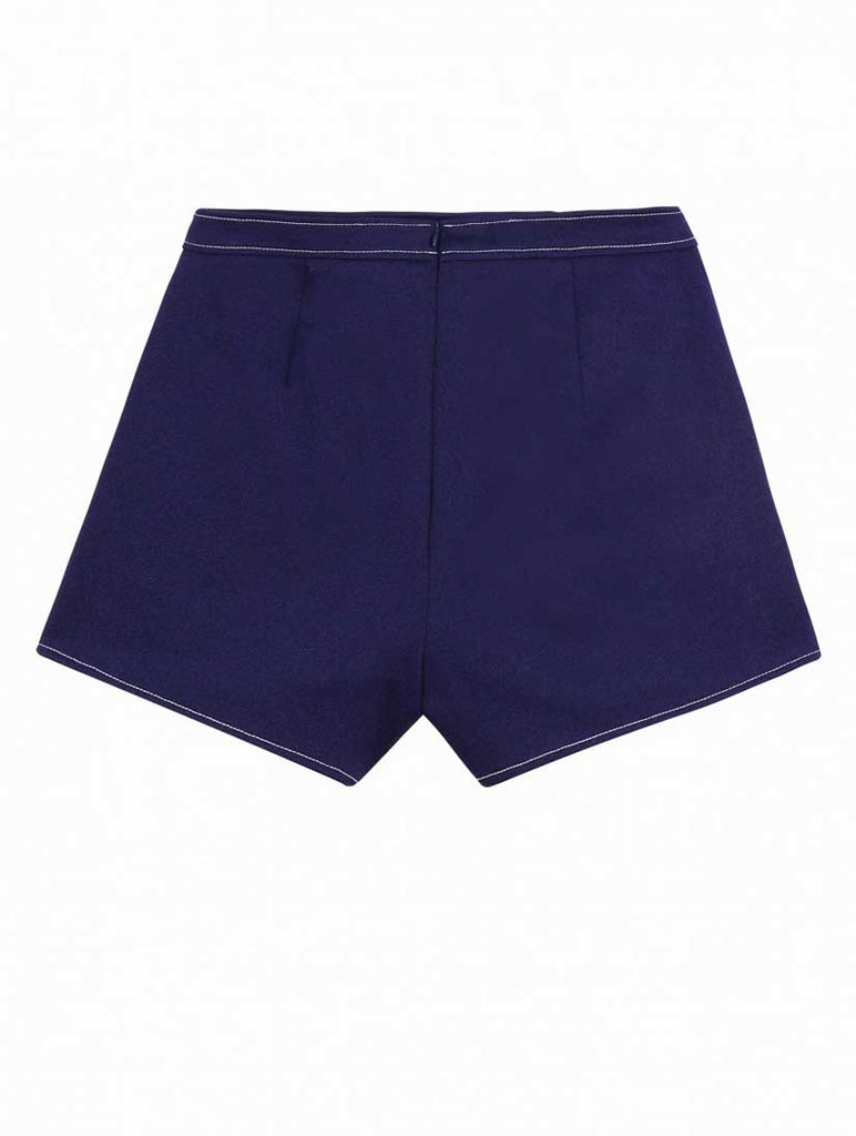 Dark Navy Shorts with White Stitching