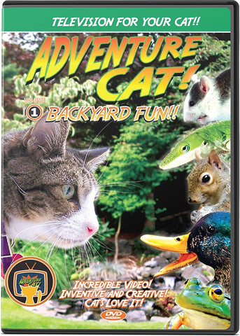 Adventure Cat DVD Volume 1: Backyard Fun! - TV to Entertain Your Cat - Pet Media Plus